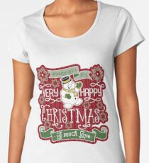 Snowman Very Happy Christmas With Much Love Typography Premium Scoop T-Shirt