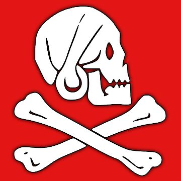 Jolly Roger, Henry Every, PIRATE FLAG, Skull & Crossbones, Pirate, Crew, Buccaneer, White on Red by TOMSREDBUBBLE
