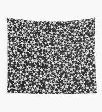 Hand Printed Black and White Stars Wall Tapestry