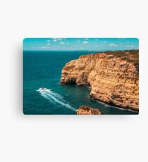 Spectacular Coastal Boat Trip in Teal and Orange Canvas Print
