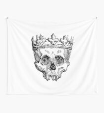 SKULL KING, DEATH, King of the Dead, Skull, Crown, on WHITE Wall Tapestry