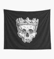 SKULL KING, DEATH, King of the Dead, Skull, Crown, on BLACK Wall Tapestry