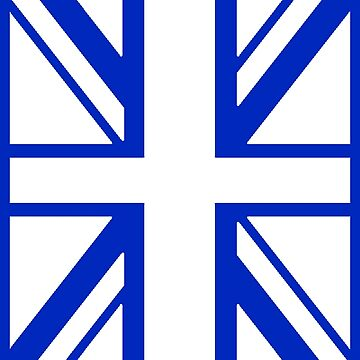 BRITISH, UNION JACK, UK, GB, FLAG, PORTRAIT IN WHITE ON BLUE by TOMSREDBUBBLE