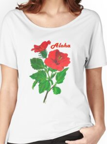 Aloha Red Hibiscus Greetings Women's Relaxed Fit T-Shirt