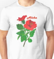 A Tropical Red Hibiscus Flower with Aloha Text Unisex T-Shirt
