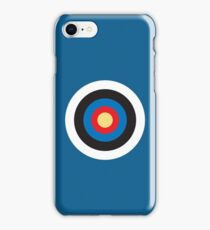 BULLS EYE, SMALL, Target, Archery, Right on target, Navy, Blue iPhone Case/Skin