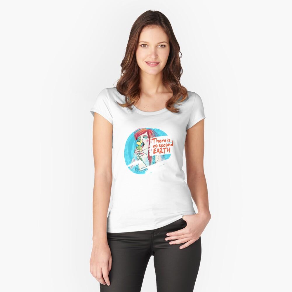 No second Earth Tailliertes Rundhals-Shirt für Frauen Vorne