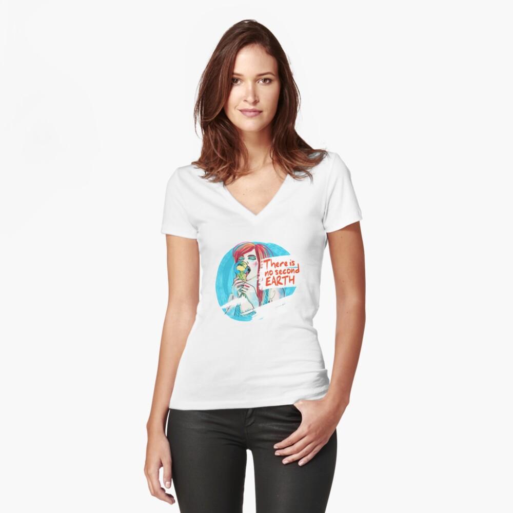 No second Earth Shirt mit V-Ausschnitt Vorne