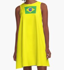 BRAZIL, BRAZILIAN FLAG, FLAG OF BRAZIL, PURE & SIMPLE, Brazil, Football, Soccer, Olympics, on Yellow A-Line Dress