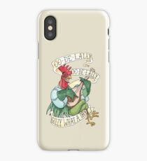 Alan-A-Dale Rooster : OO-De-Lally Golly What A Day Tattoo Watercolor Painting iPhone Case/Skin