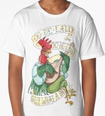Alan-A-Dale Rooster : OO-De-Lally Golly What A Day Tattoo Watercolor Painting Robin Hood Long T-Shirt