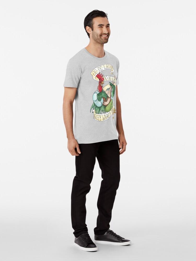 Vista alternativa de Camiseta premium Alan-A-Dale Gallo: OO-De-Lally Golly Qué día tatuaje Acuarela Robin Hood