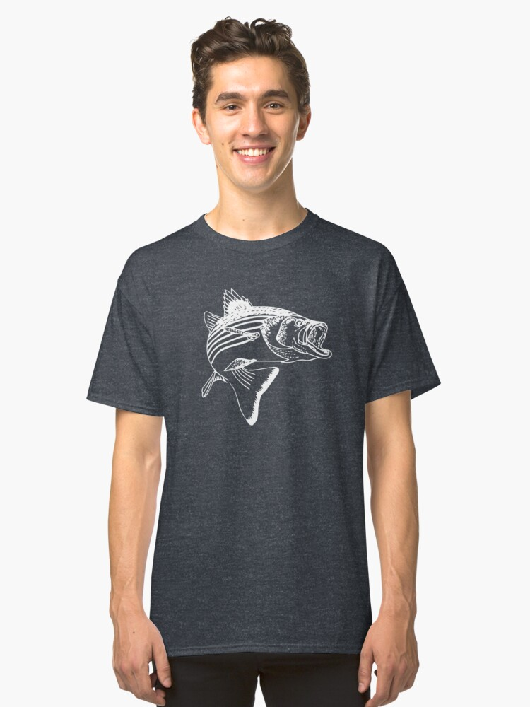 Striped Bass - White Classic T-Shirt Front