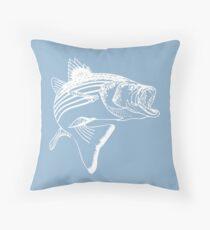 Striped Bass - White Throw Pillow
