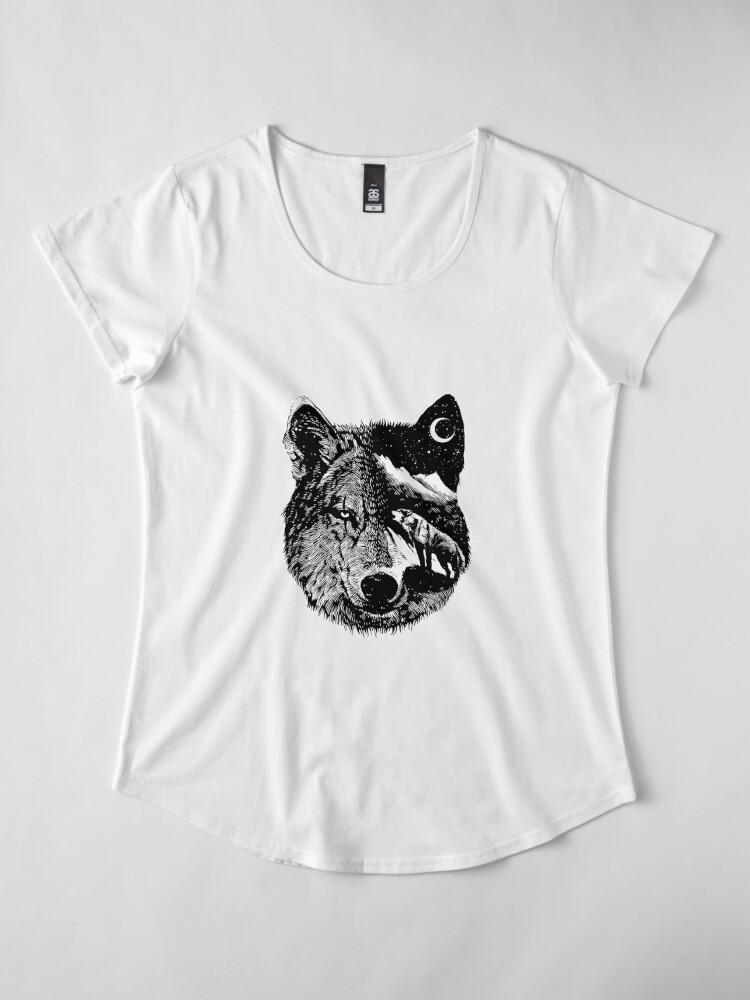 Alternate view of Night wolf Premium Scoop T-Shirt