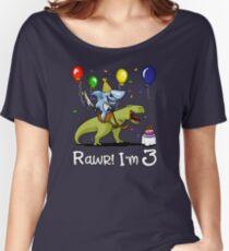Rawr Kids 3rd Birthday Shark Riding T-Rex Dinosaur Women's Relaxed Fit T-Shirt