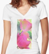 Colorful Tulip Photography-Art 2 Women's Fitted V-Neck T-Shirt