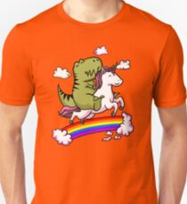 T-Rex Dinosaur Riding Cartoon Unicorn Fantasy Rainbow T-Shirt
