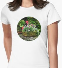 Geraniums and Lavender Flowers on Stone Steps T-Shirt