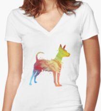 Miniature Pinscher  Women's Fitted V-Neck T-Shirt