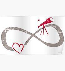 Infinite Love ∞ I Love Astronomy ∞ Red Telescope Poster