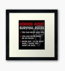 Horror Movie Rules Framed Print