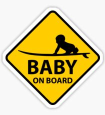 Baby on Board, surf board Sticker