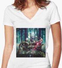 Goddess de Machina Natura  Women's Fitted V-Neck T-Shirt