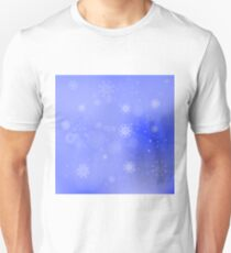 Snow Flakes Background. Blurred Winter Blue Pattern T-Shirt