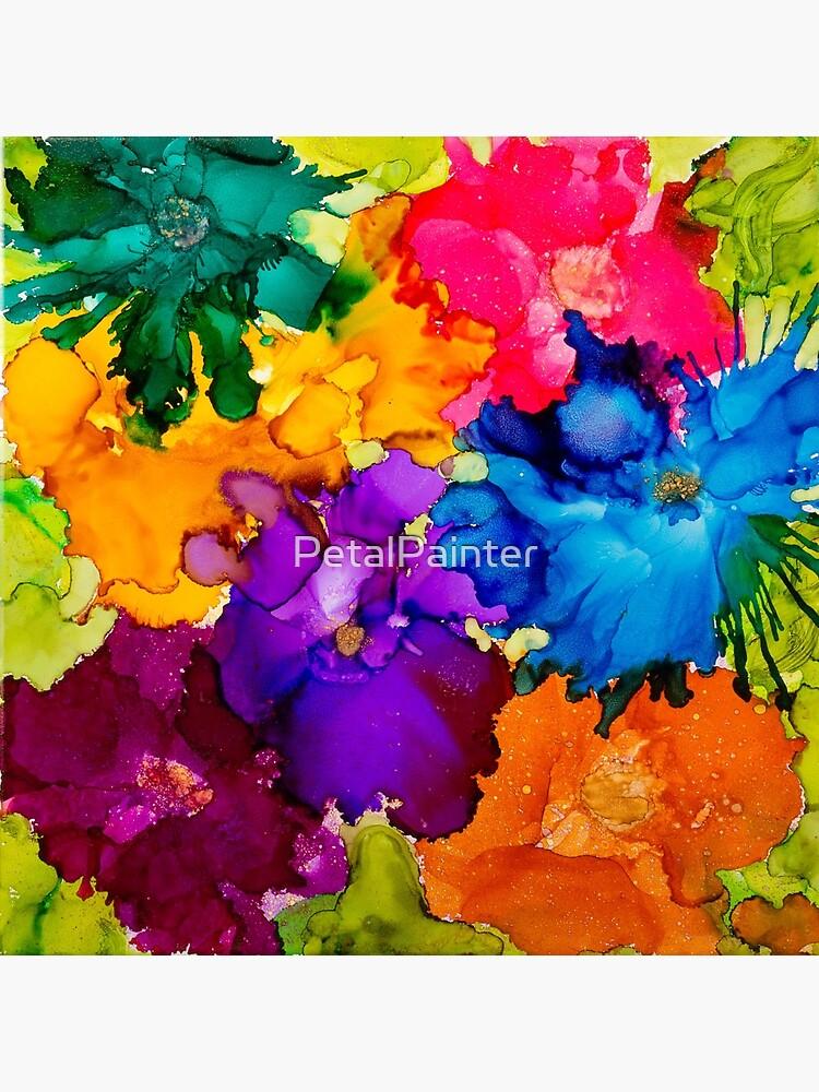 Tropische Explosion Original Alkohol Tinte Artwork von PetalPainter
