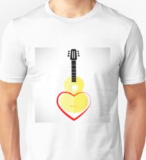 Classic Guitar and Red Heart Isolated on White Background T-Shirt