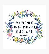 Von der Anmut allein - christliches Zitat Fotodruck