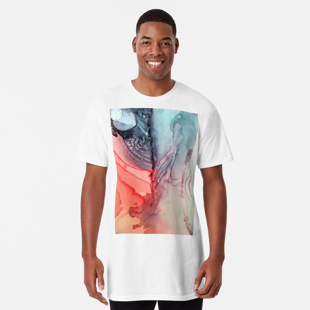 Undertown Meets Lava- Alcohol Ink Painting Long T-Shirt