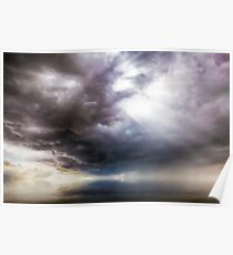 Fantasy cloudscape with UFO activity Poster
