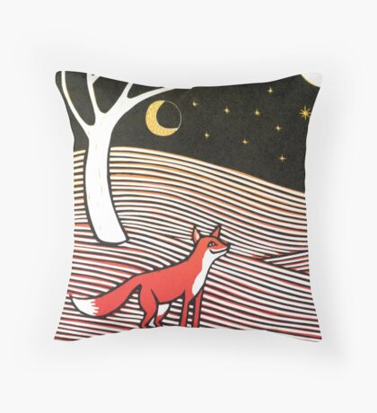 Stargazing - Fox in the Night - original linocut by Francesca Whetnall Throw Pillow
