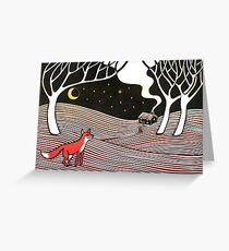 Stargazing - Fox in the Night - original linocut by Francesca Whetnall Greeting Card