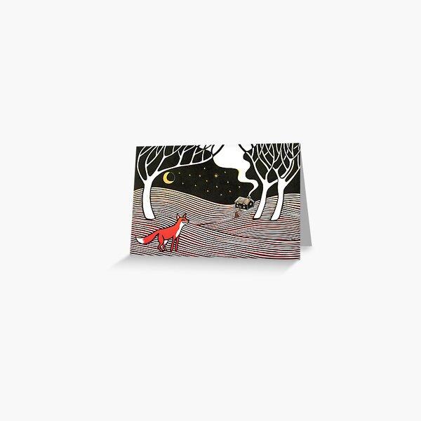 Stargazing - Fox in the Night - original linocut by Francesca Whetnall Greeting Card