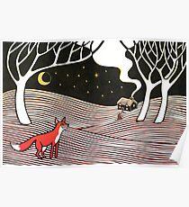 Stargazing - Fox in the Night - original linocut by Francesca Whetnall Poster