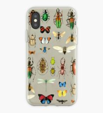 The Usual Suspects - Insects on grey - watercolour bugs pattern by Cecca Designs iPhone Case