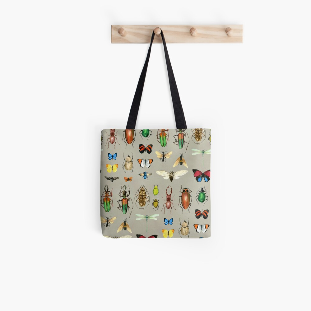 The Usual Suspects - Insects on grey - watercolour bugs pattern by Cecca Designs Tote Bag