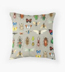 The Usual Suspects - Insects on grey - watercolour bugs pattern by Cecca Designs Throw Pillow