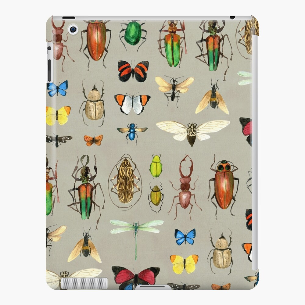 The Usual Suspects - Insects on grey - watercolour bugs pattern by Cecca Designs iPad Case & Skin