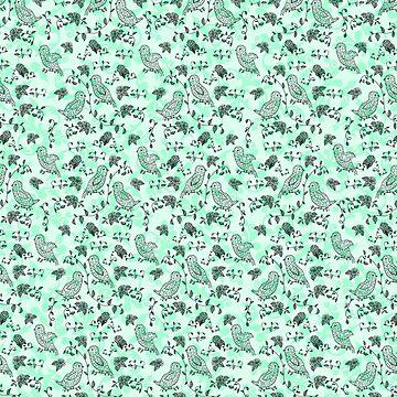Sweet Mint Bird Pattern by HoneybethStudio
