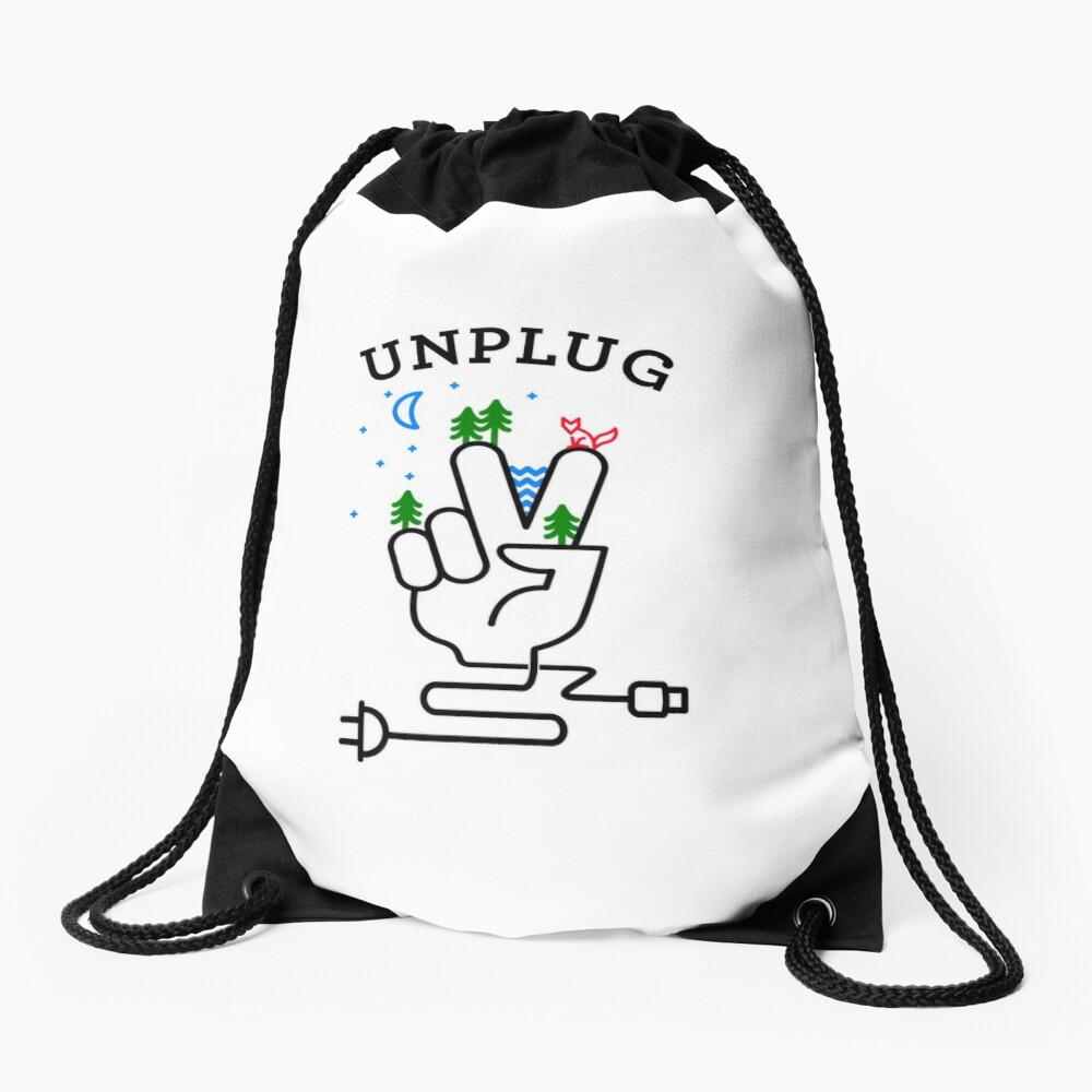 UNPLUG Drawstring Bag Front