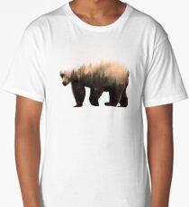 Double Exposure Wooded Bear Art Long T-Shirt