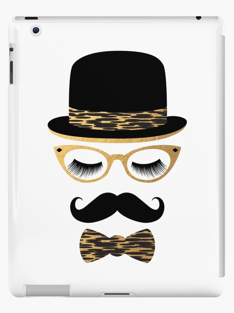Female Hipster - Gold & Black Bowler Hat, Cat Eye Glasses, Lashes, Mustache, Bowtie by Elsy's Art