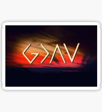 God Is Greater Than The Highs And Lows - Christian Designs - Orange Sunset Sticker