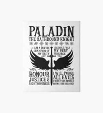 PALADIN, THE OATHBOUND KNIGHT- Dungeons & Dragons (Black) Art Board