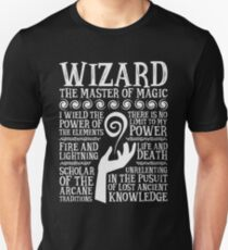 WIZARD, The Master of Magic - Dungeons & Dragons (White Text) T-Shirt