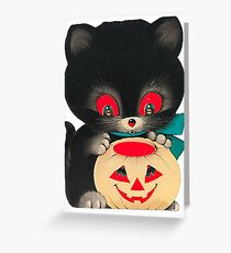 Vintage Halloween Card Pumpkin Cat Greeting Card